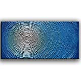 YaSheng Art 3D Metallic Bead light Blue Texture Oil Painting on Canvas Abstract Art Pictures Canvas Wall Art Paintings Modern Home Decor Abstract Paintings Ready to hang 20x40inch