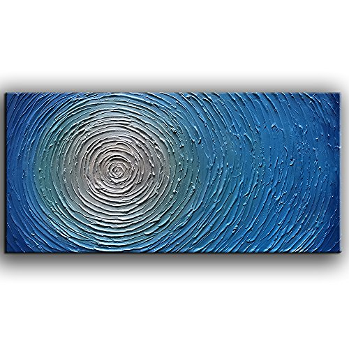 Metallic Canvas - YaSheng Art - 3D Metallic Bead Light Blue Texture Oil Painting on Canvas Abstract Art Pictures Canvas Wall Art Paintings Modern Home Decor Abstract Paintings Ready to Hang 20x40inch