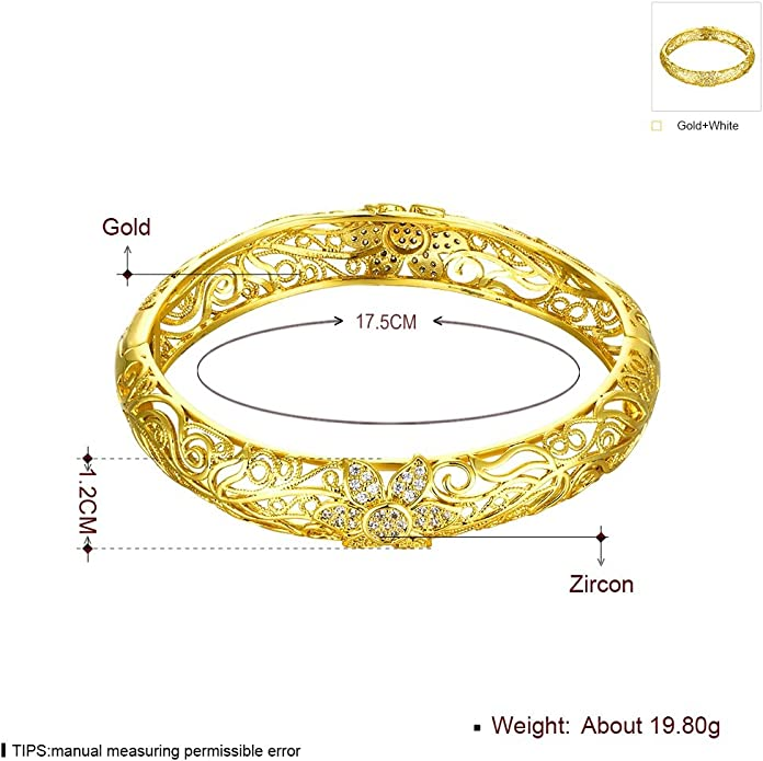 VAROLE Enamel Bracelet Womens Cuff Bangle in Gold Plate Tone Handmade Jewelry