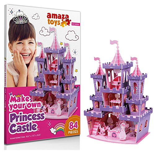 (Girls Toys Princess Games - 3D Puzzle Princess Castle - Gifts for Girls 10 Years Old and Under Educational Toys Craft for Kids (84 Pieces))