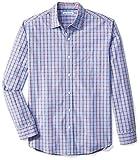 Amazon Essentials Men's Regular-Fit Long-Sleeve Plaid Casual Poplin Shirt, Red/Blue Plaid, Large