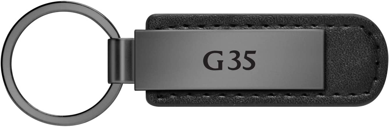 iPick Image Gunmetal Gray Metal Plate Black Leather Strap Key Chain for Infiniti G35