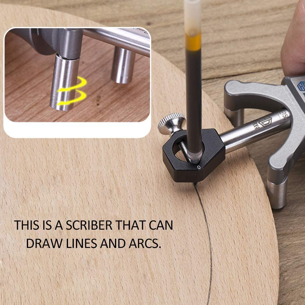 Gearwoo Metric Wood Scribe Tool Wheel Marking Gauge 180mm Sliding Mark Scraper Adjustable Precision Linear Arc Dual-Purpose Scriber