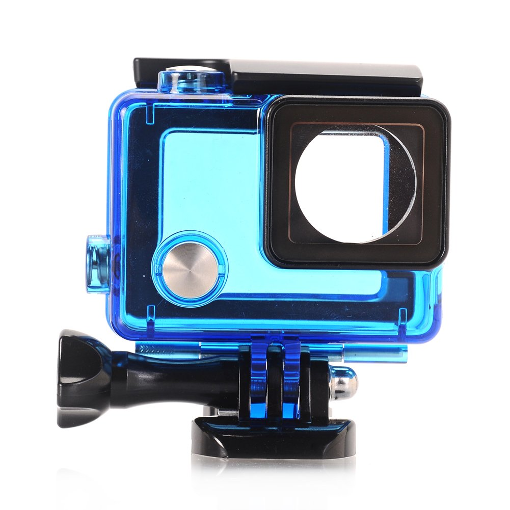 Nechkitter Side Open Skeleton Housing For GoPro Hero4 Hero3+ Hero 3 cameras With Bacpac Touched LCD Screen Protective backdoor and lens Blue