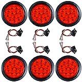 """4"""" Round 12-LED Tail Light with Grommet Plug Kit for Truck Trailer RV UTE UTV (6x, Red Lens - Red Light)"""