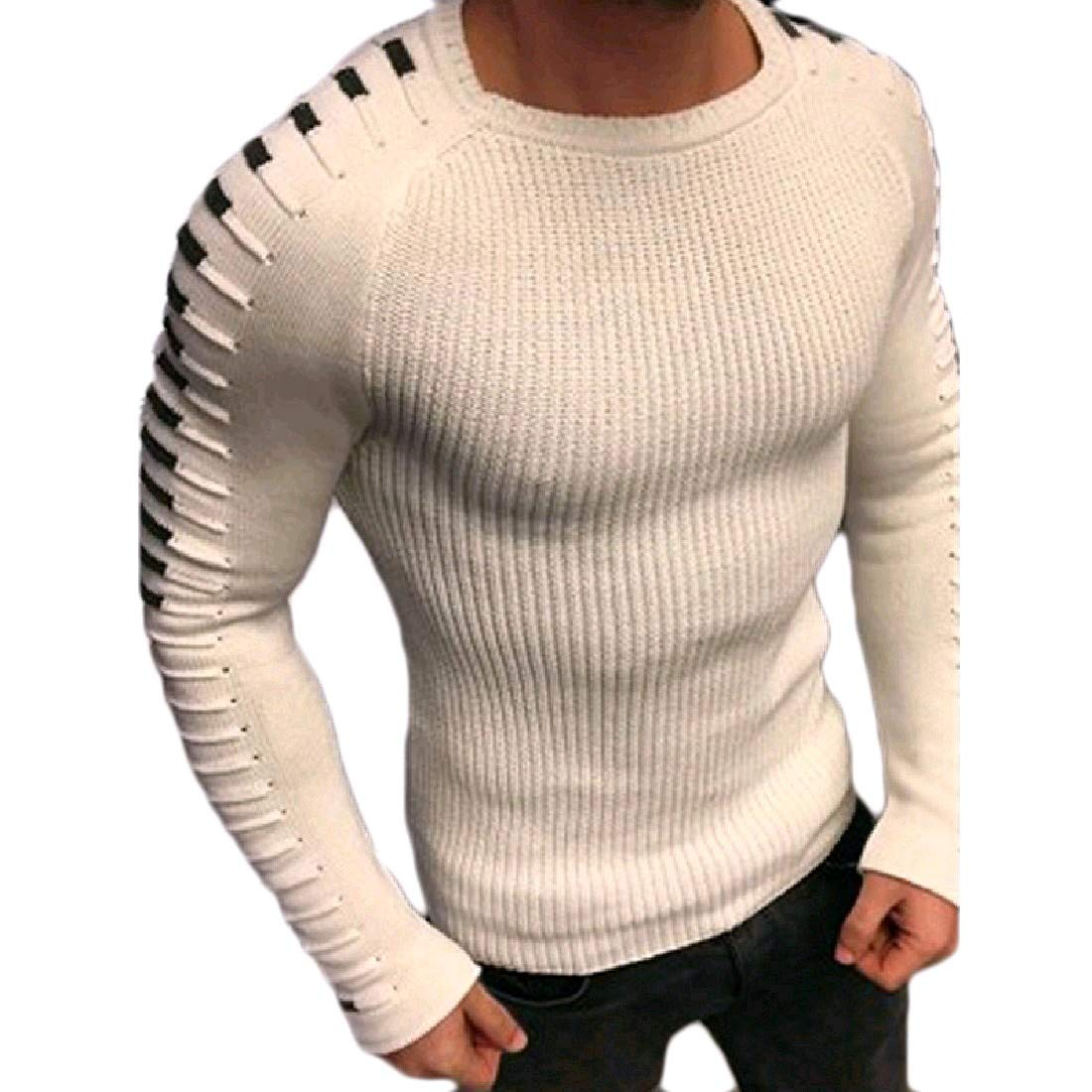 YUNY Mens Silhouette Knitwear Striped Skinny Top Pullover Sweater White XL