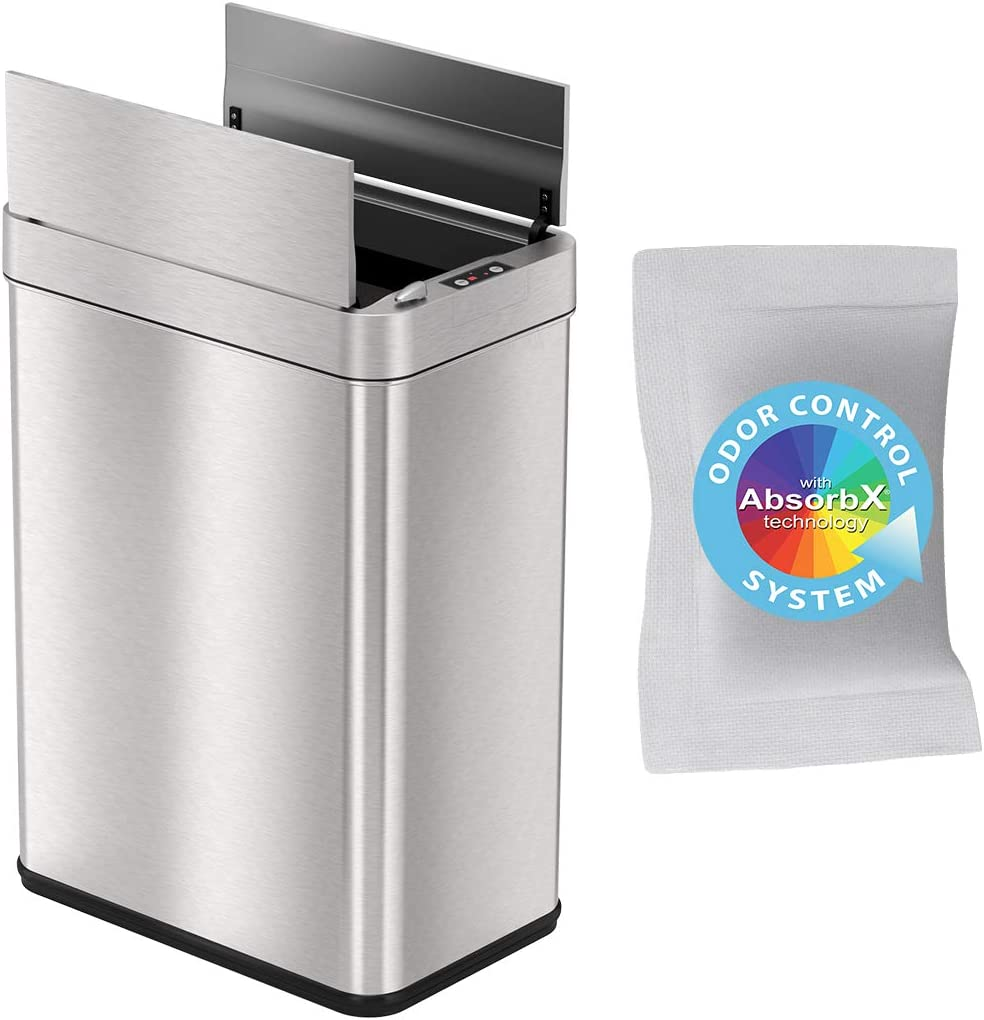 iTouchless 13 Gallon Wings-Open Sensor Trash Can with AbsorbX Odor Filter and Pet-Proof Lid, Stainless Steel Automatic Garbage Prevents Dogs & Cats Getting in Kitchen Waste Bin