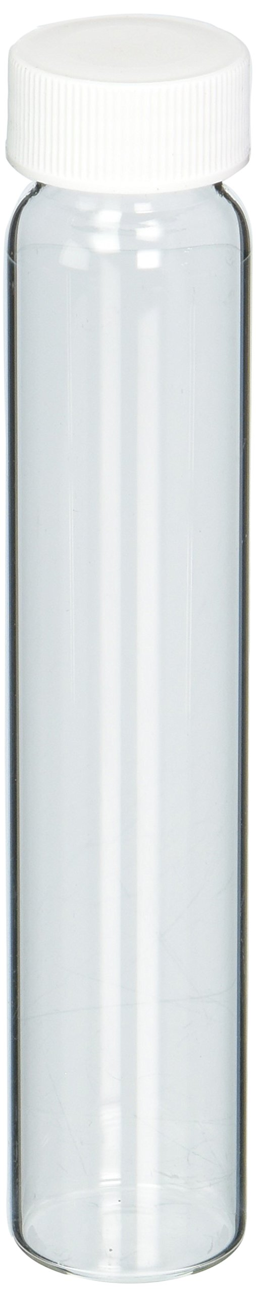JG Finneran 9-090 Clear Borosilicate Glass Standard VOA Vial with White Polypropylene Solid Top Closure and PTFE Lined, 24-400mm Cap Size, 60mL Capacity (Pack of 100)