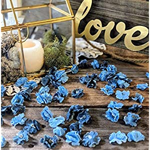 Wedding Sweetheart Table Decor, Rustic Bridal Shower Decorations, Table Setting Ideas for Party, Artificial Baby's Breath, Dusty Blue Flower Confetti 3
