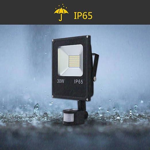 Hengda® 30W Blanco Cálido Foco proyector Exterior LED detección de movimiento PIR sensor Resistente al agua con Sensor LED IP65