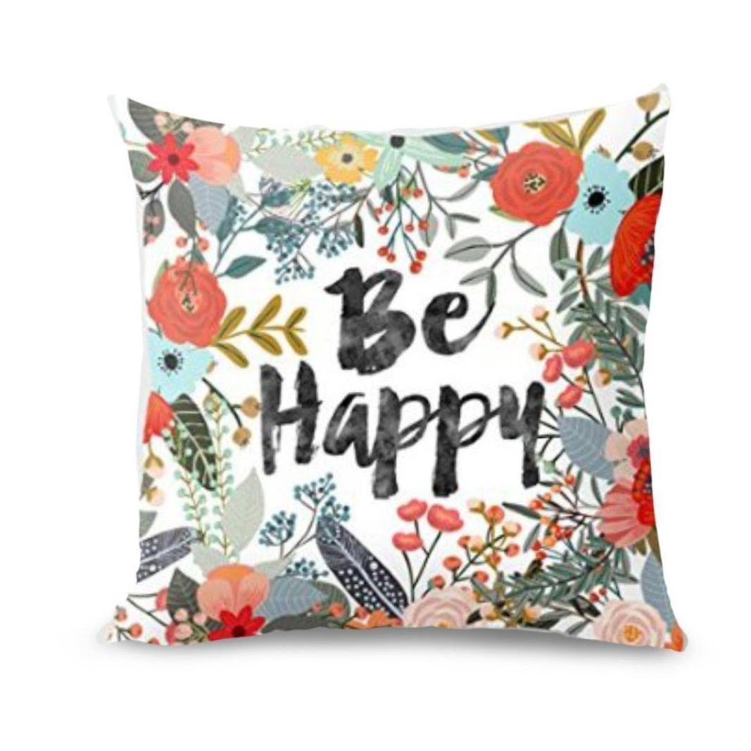 Pocciol 2018 Newly Pillow Case, Be Happy Surrounded With Flowers And Plants Personalized Sofa Pillow Cover 16''x16'' (approx 40cm40cm) (Multicolor)