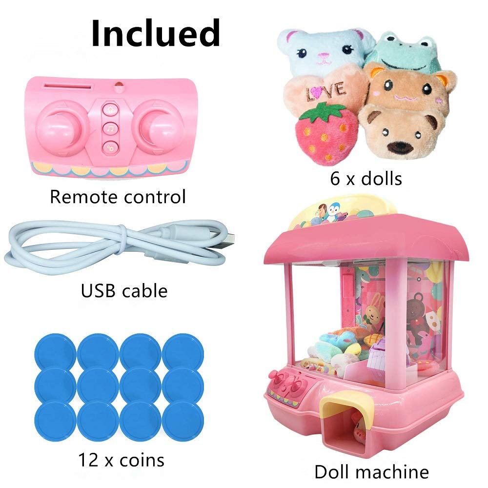 ForBEST Claw Machine Doll Machine with Removable Remote Control, USB Cable, 6 Dolls, Adjustable Sounds and Lights, Best Gift Toy for Kids (Pink) by For BEST (Image #7)