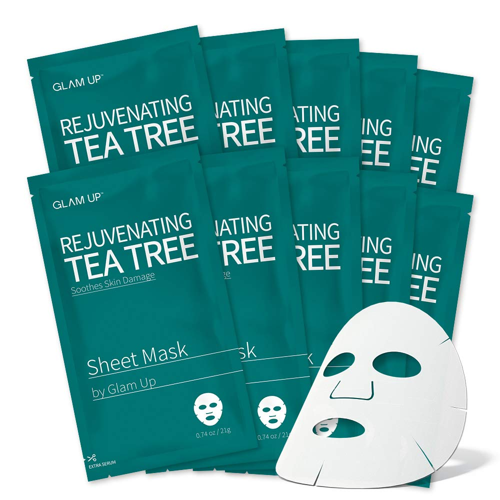 Sheet mask by glam up BTS Rejuvenating Tea Tree - Soothing, Calming Damaged Skin. Trouble Solution Nature made Freshly packed Daily Skin Therapy Original K-Beauty Recipe x 10ea