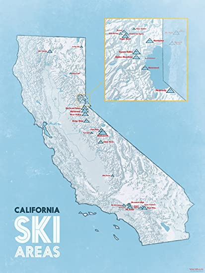 Amazon Com California Ski Resorts Map 18x24 Poster White Light