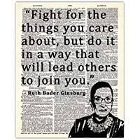 Ruth Bader Ginsburg - Fight For The Things You Care About… Dictionary Wall Art Print: 8x10 Unframed Picture For Home, Office & Bedroom Decor - Great Motivational & Inspirational Gift Idea Under $15