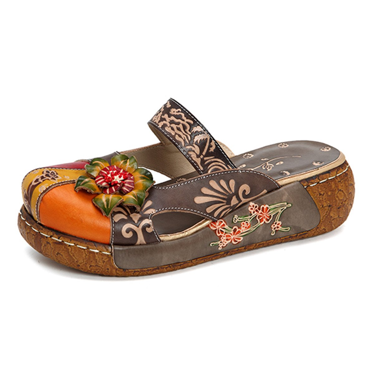 Gracosy Damen Sandalen, Sommer Leder Pantoffel Vintage Slipper Rückenfrei Clogs Bunte Blume Schuhe Weich Komfortabel  41 EU Grau-i