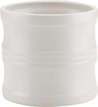 Matte White Circulon Ceramics Tool Crock with Partition Insert 7.5-Inch