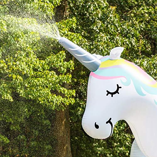 DealBerry Giant Inflatable Unicorn Garden Sprinkler 6 Ft Tall, Magical Unicorn Kids Outdoor Water Sprinkler