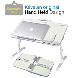 Kavalan Standard Size Portable Laptop Table with Handle, Height & Angle Adjustable Sit and Stand Desk, Bed & Breakfast Table Tray, Foldable Laptop Stand Holder for Sofa, Couch & Floor - Beige