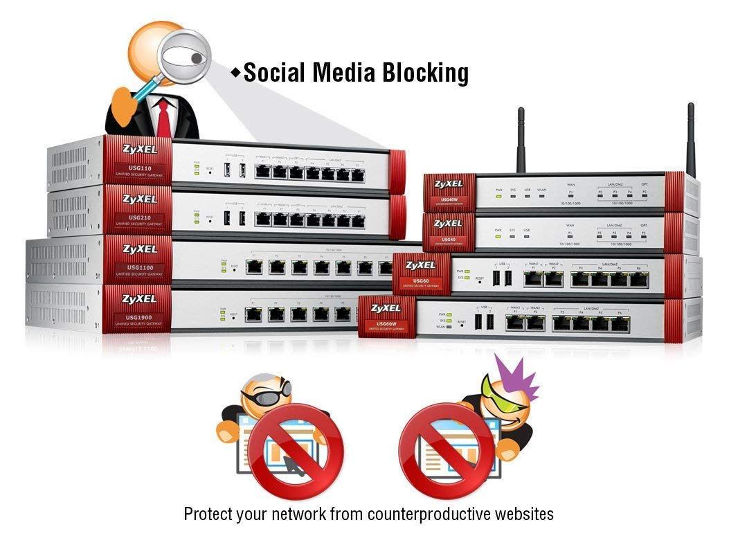 Zyxel [USG40] ZyWALL (USG) UTM Firewall, Blocks Ransomware, Gigabit Ports,  for Small Offices, Includes 1-Year UTM Services Bundled, Limited