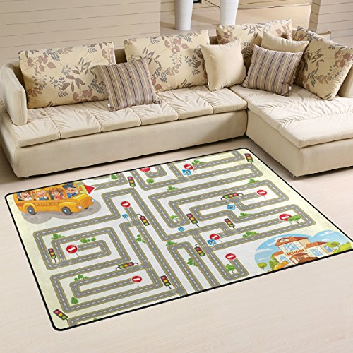 (WellLee Area Rug,School Bus Transport Maze Game Floor Rug Non-Slip Doormat for Living Dining Dorm Room Bedroom Decor 31x20 Inch)