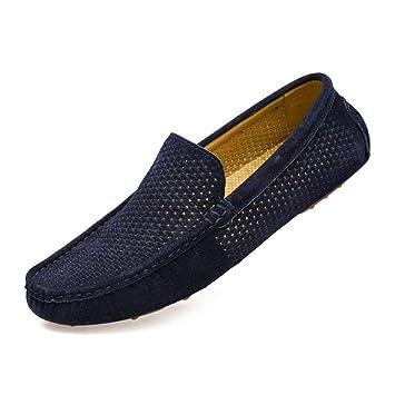 Fuxitoggo Zapatos Mocasines para Hombre, Mocasines de Bota de Cuero Genuino Oxfords Huecos livianos para Hombres (Color : Marine, tamaño : 42 EU): ...