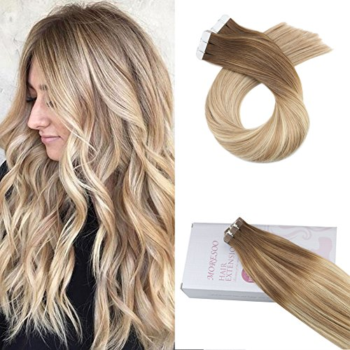 Moresoo 20inch Tape in Hair Extensions Remy Human Hair Tape on Hair Extensions 20pcs 50G Seamless Tape in Hair Extensions Colored #6 Brown Fading to #14 Blonde and #26 Blonde Glue on Hair