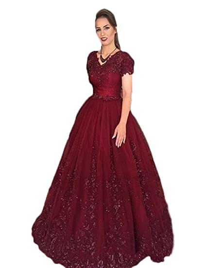 Stillluxury V Neck Short Sleeves Tulle Ball Gown Long Prom Dresses Women Beading Appliques Burgundy Size