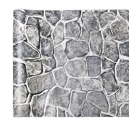Yifely Grey Rock Stone Decorative Contact Paper Vinyl Shelf Liner Living Room Wall Sticker 17.7inch by 9.8 Feet