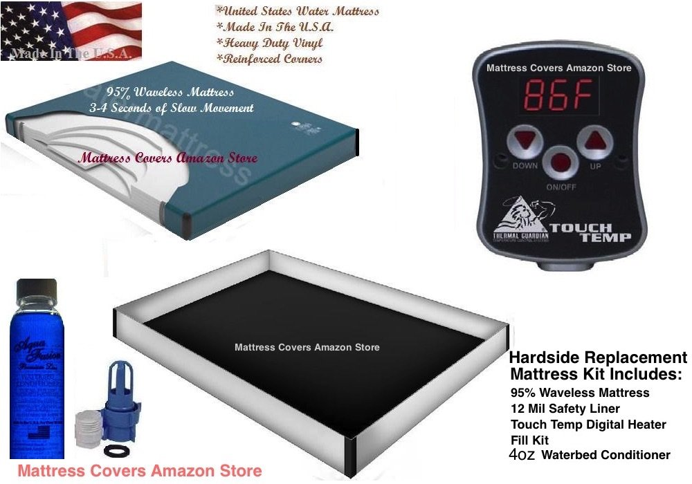 California King 95% waveless waterbed mattress with 12 mil liner, digital heater & Fill kit with conditioner by California King