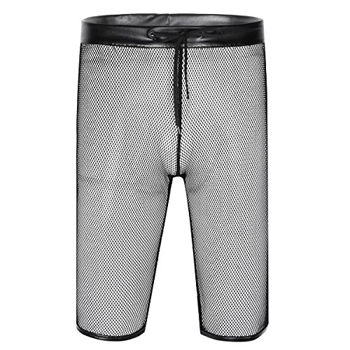 Freebily Men's See Through Mesh Boxer Shorts Active Pants Black Medium by Freebily