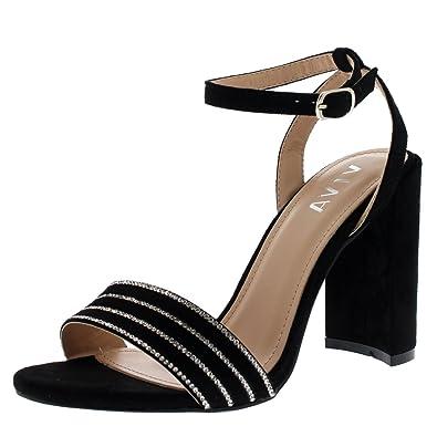 VIVA Zapatos con correa de tobillo imitacion dediamante para Boda, Fiesta