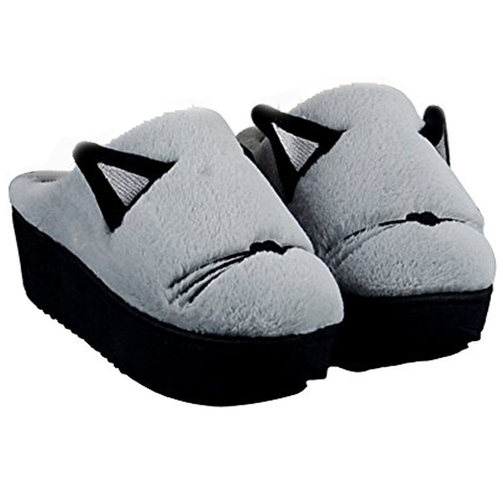 Anddyam Women's Cute Cat Slippers Indoor House Slippers, Anti-Slip Home Slippers for Womens Size 9 (for Women 8 B(M) US, Gray High Heel)