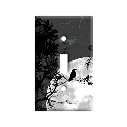 BLACK TREES ON GREY AND WHITE HOME WALL DECOR LIGHT SWITCH PLATE