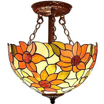 Lámpara Tiffany 12 pulgadas Lámpara de techo Vitral Vaso ...