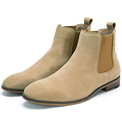 Cestfini Chelsea Slip-on Suede Boots for Men Genuine Leather Chukka Boots, Waterproof Casual Oxford Dress Ankle Bootie | Chelsea
