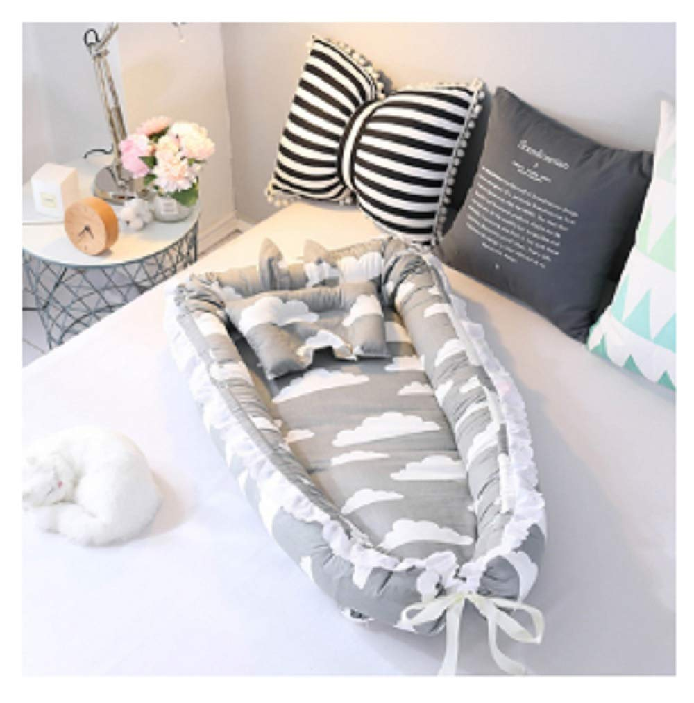 Baby Nest Bed Travel Crib Baby Bed Infant CO Sleeping Cotton Cradle Portable Snuggle 9055cm Newborn Baby Bassinet BB Artifact - Cloud Grey by Hwealth