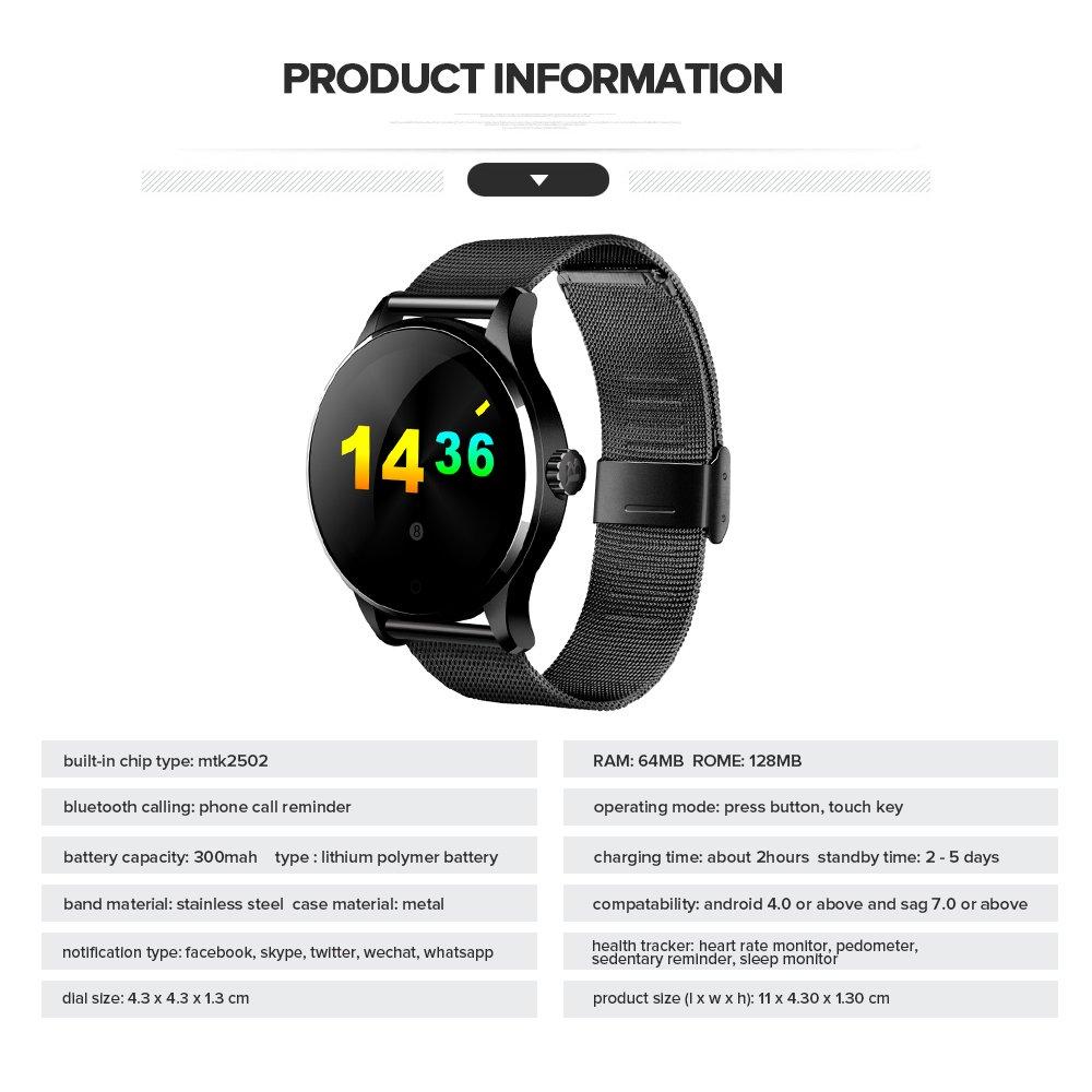 K88 Reloj Inteligente con Cámara Smartwatch Bluetooth 4.0 IP65 Impermeable Sedentario Recordatorio Sueño,Monitor de Frecuencia Cardíaca ,Podómetro ...