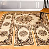United Weavers of America United Weavers Dallas Collection Floral Kerman 4-Piece Rug Set, Ivory