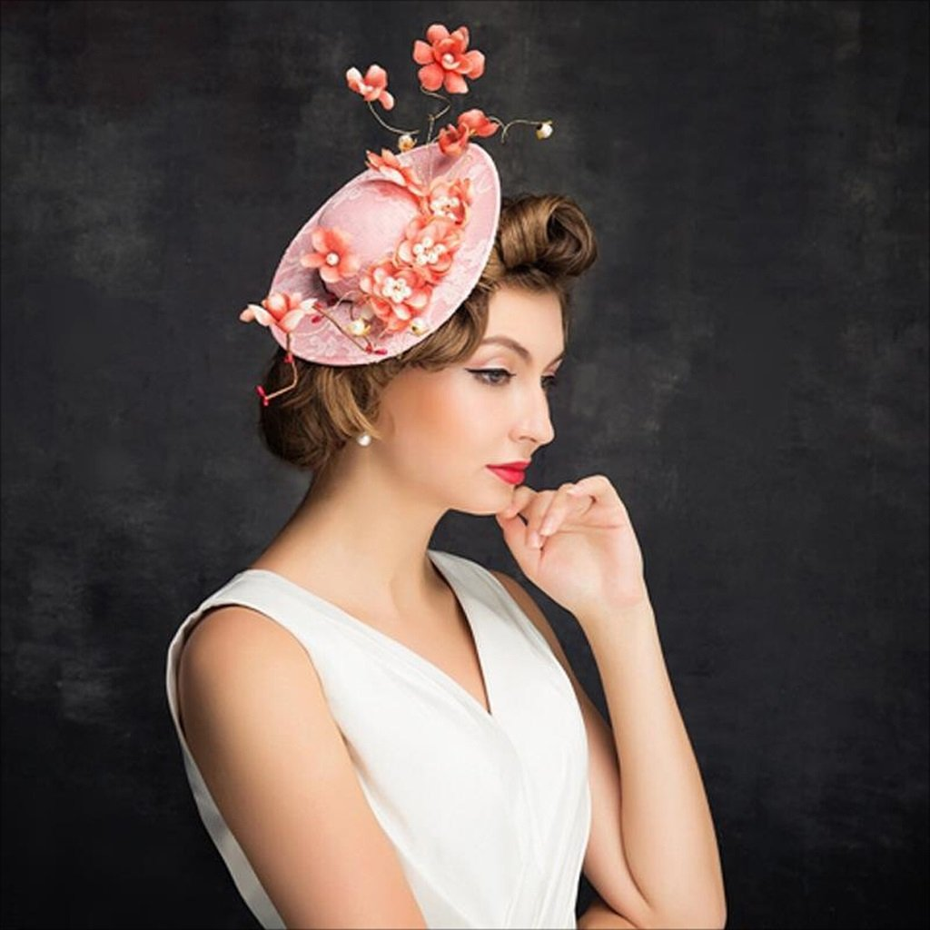FEI Bowler Hat for Women Pink Flowers Pearl Fashion Top Hat Wedding Photography Hair Accessories