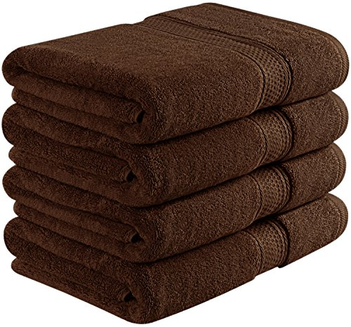 Utopia Towels 700 GSM Premium Brown Bath Towels Set – Pack of 4 – (27 x 54 Inches) – 100% Ring-Spun Cotton Towels for Home, Hotel and Spa – Brown Towels Set with Maximum Softness and High Absorbency