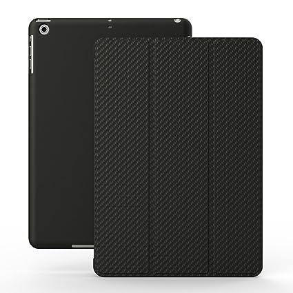 KHOMO Funda iPad 2, 3, 4 - Carcasa Fibra de Carbono Protectora Ultra Delgada y Ligéra con Smart Cover para Apple iPad 4 Retina, iPad 3, iPad 2 - ...