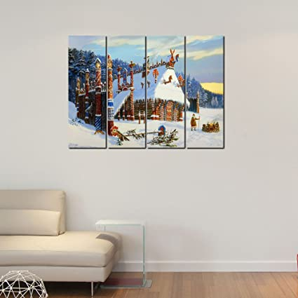 999store Digitalmente Impreso laminado de madera casetas de múltiples marcos en paisaje nevado paneles como la