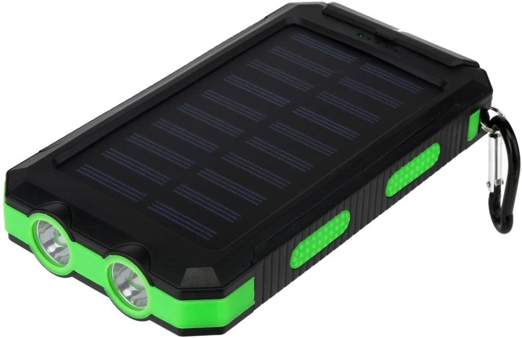 Green TM Solar Charger,Elevin 20000mAh Portable Waterproof Solar Charger Dual USB External Backup Battery Pack Power Bank with Carabiner Compass for Emergency Outdoor Camping Travel
