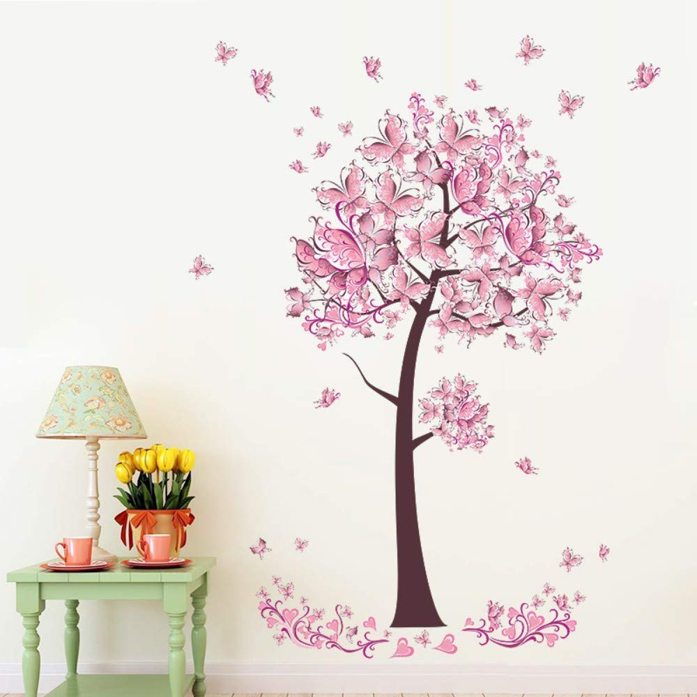 Amazon.com: Bdhnmx Pink Butterfly Flower Tree Wall Stickers Decals Girls Women Flower Mural Vinyl Wallpaper Home Living Room Bedroom Decor: Baby