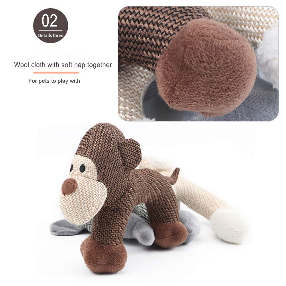 Yisily Perro Mascota Resistente al Desgaste Forma Vocal Animales de Juguete para Mascotas Cachorro de Perro de Juguete de Felpa Vent Bite zumbido Chew Toy Mono Tipo de Brown