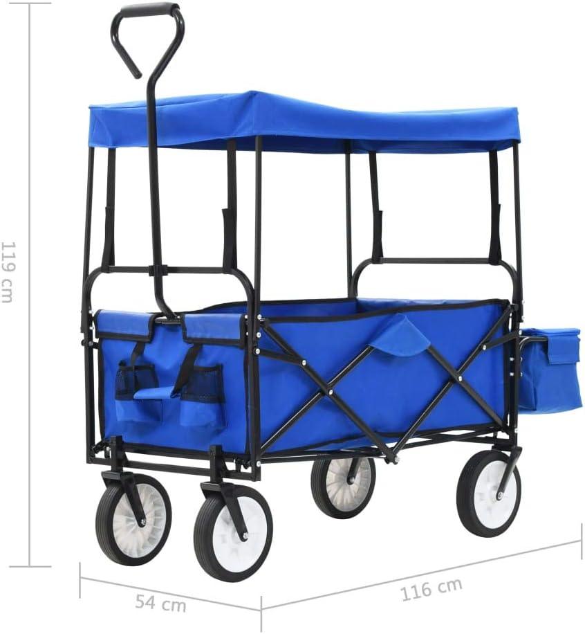 vidaXL Handwagen Dach Klappbar Blau Bollerwagen Transportwagen Strandwagen