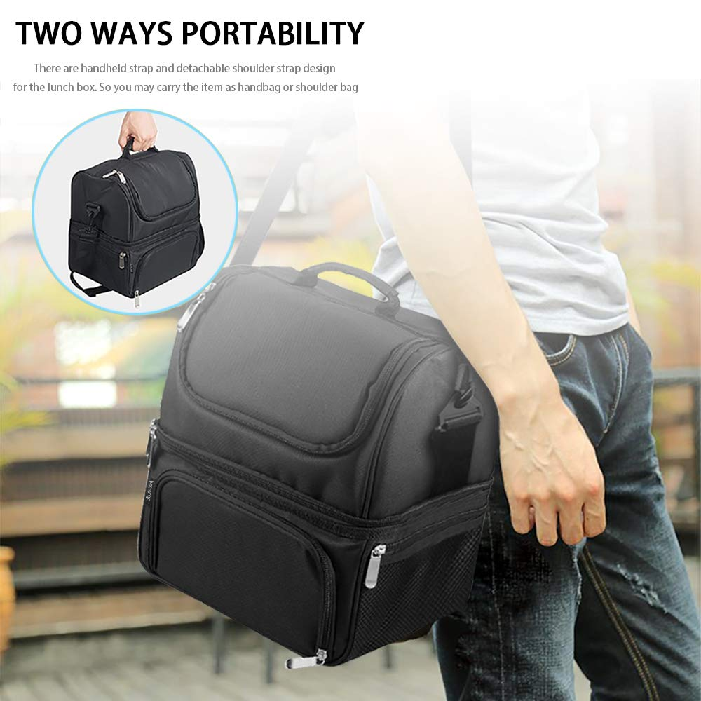 Lunch Box Picnic Double Deck Cooler Insulated Large Cooler Bundle Meal Prep Foldable Tote Bag with Adjustable Shoulder Strap Black for Men Women Aldults Kids