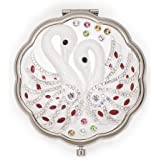 Wedding Gift Vintage Silver Compact Round Purse Folding Women's Makeup Mirror – Unique Retro Swan Design, Double-Sided With Magnifying & Regular Mirror, Elegant & Chic Antique Pocket Mirror