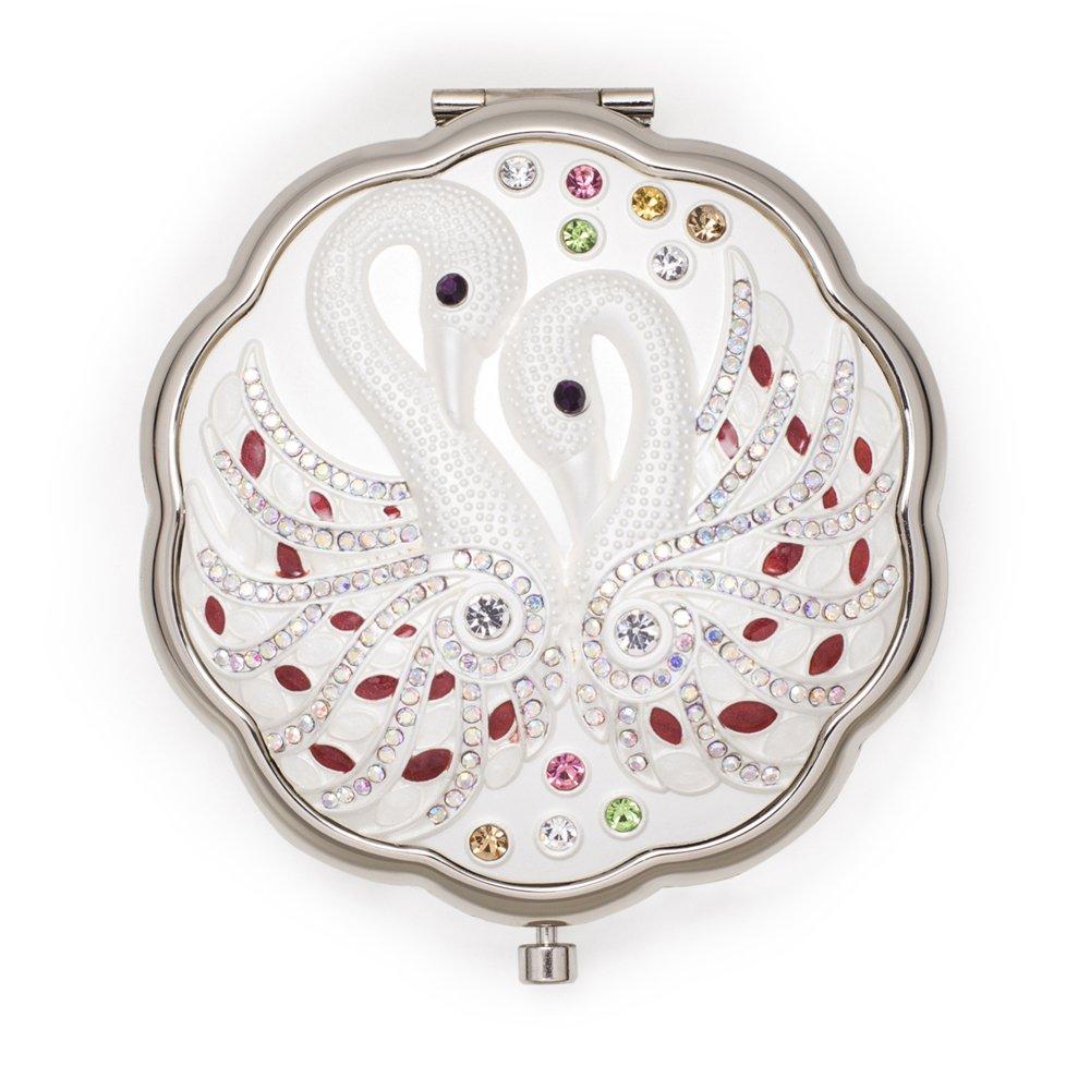 Jinvun Argent Antique Cygne Rond Vintage en métal Compact Miroir de Sac à Main, DE Mariage/Thanksgiving/Cadeau de Noël